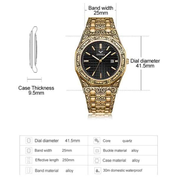 mens watch antique carved gold dimensions 1