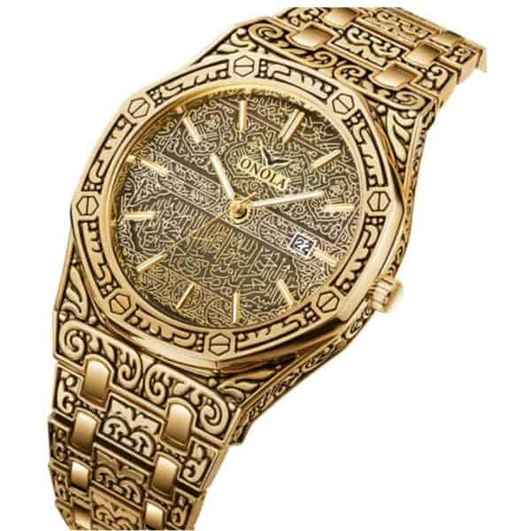 mens watch antique carved gold gold inlay angle 1