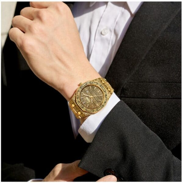 mens watch antique carved gold gold inlay display 1