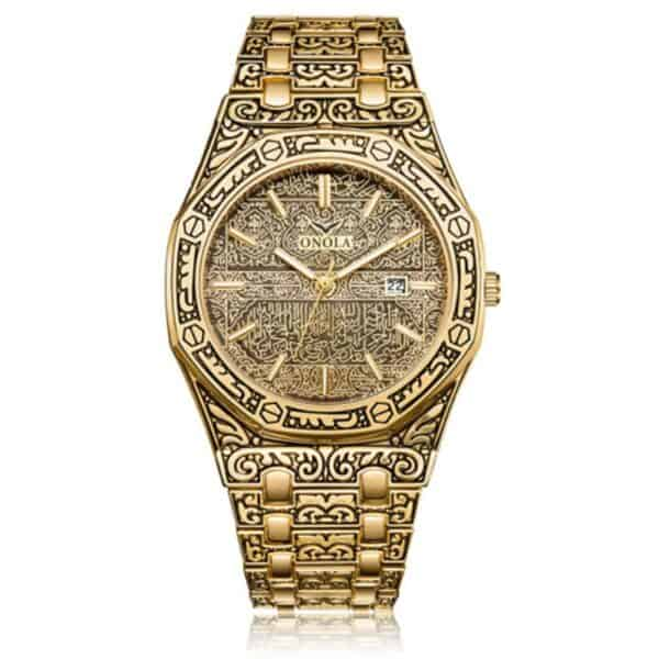 mens watch antique carved gold gold inlay quartz 1