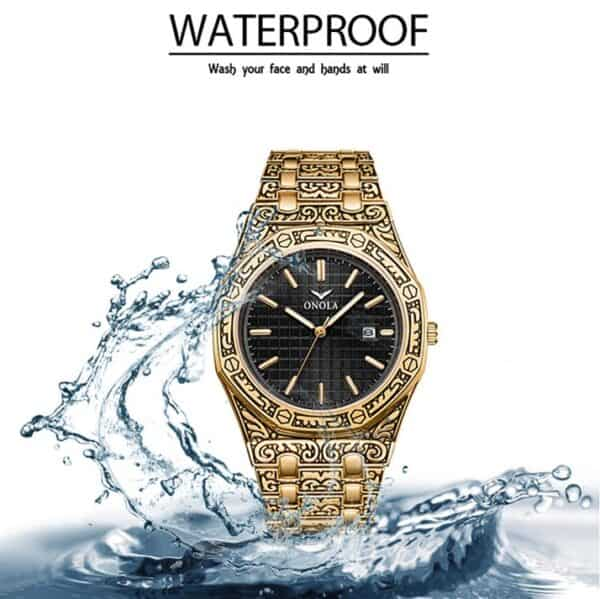 mens watch antique carved gold waterproof 1