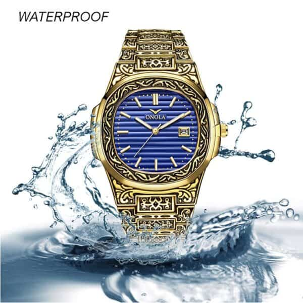 nola mens antique watch gold and blue inlay waterproof 1