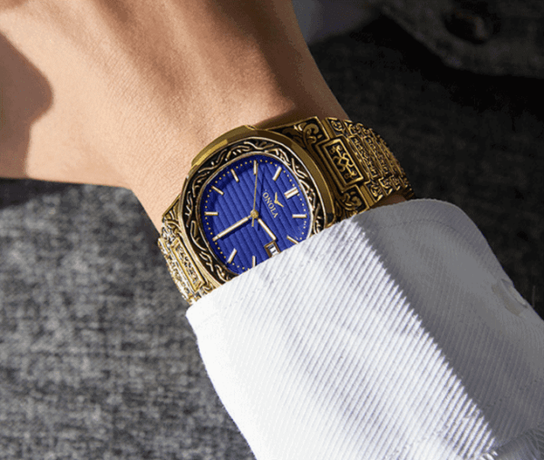 nola watch gold and blue inlay 2 1
