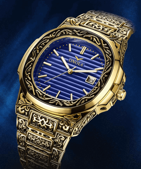 nola watch gold and blue inlay 3 1