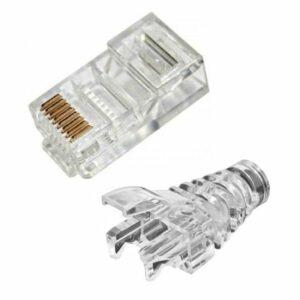 rj45 connectors and clear crimp on boots 100pcs set